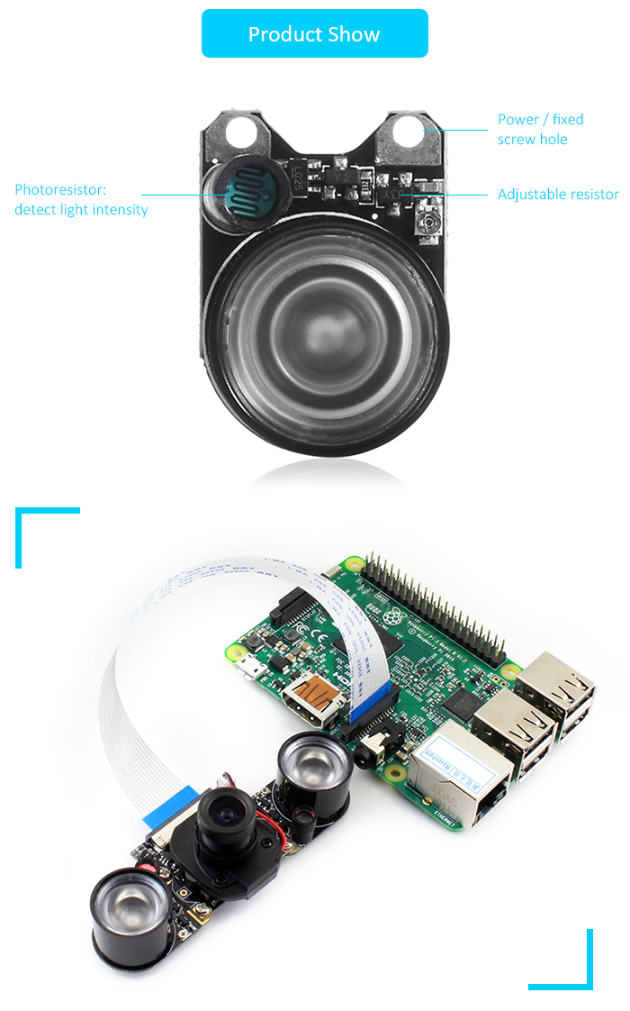 Waveshare 500MP Night Vision Camera Light Sense IR LED Board for Raspberry Pi