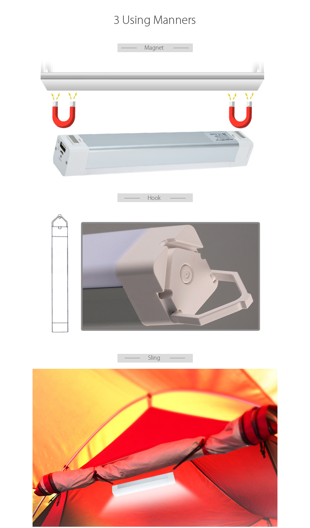 5W Solar Rechargeable LED Tube Light with Magnet Hook Sling