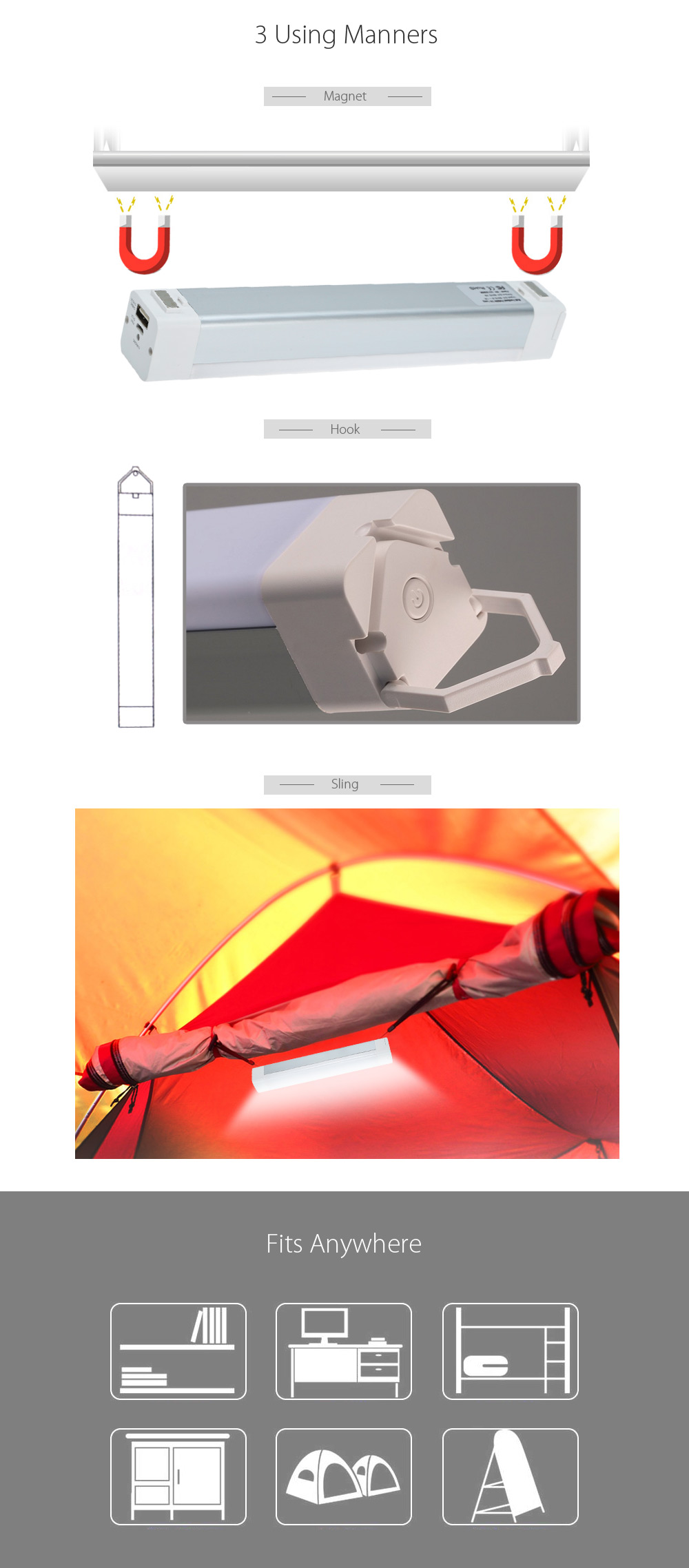 5W USB Rechargeable LED Tube Light Charging / Discharging