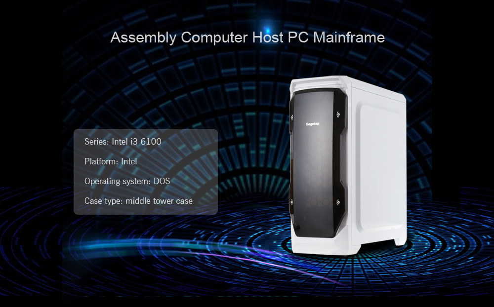 Assembly Computer Host Intel i3 6100 Dual-core CPU / Intel H110 Motherboard / GeForce GTX 1060 3G-DDR5 GPU / 8GB Memory Mid-tower