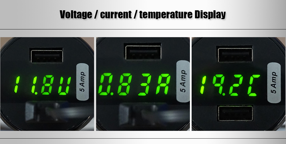 EC3 5A Dual USB Ports Car Charger with Voltage Current Temp Display