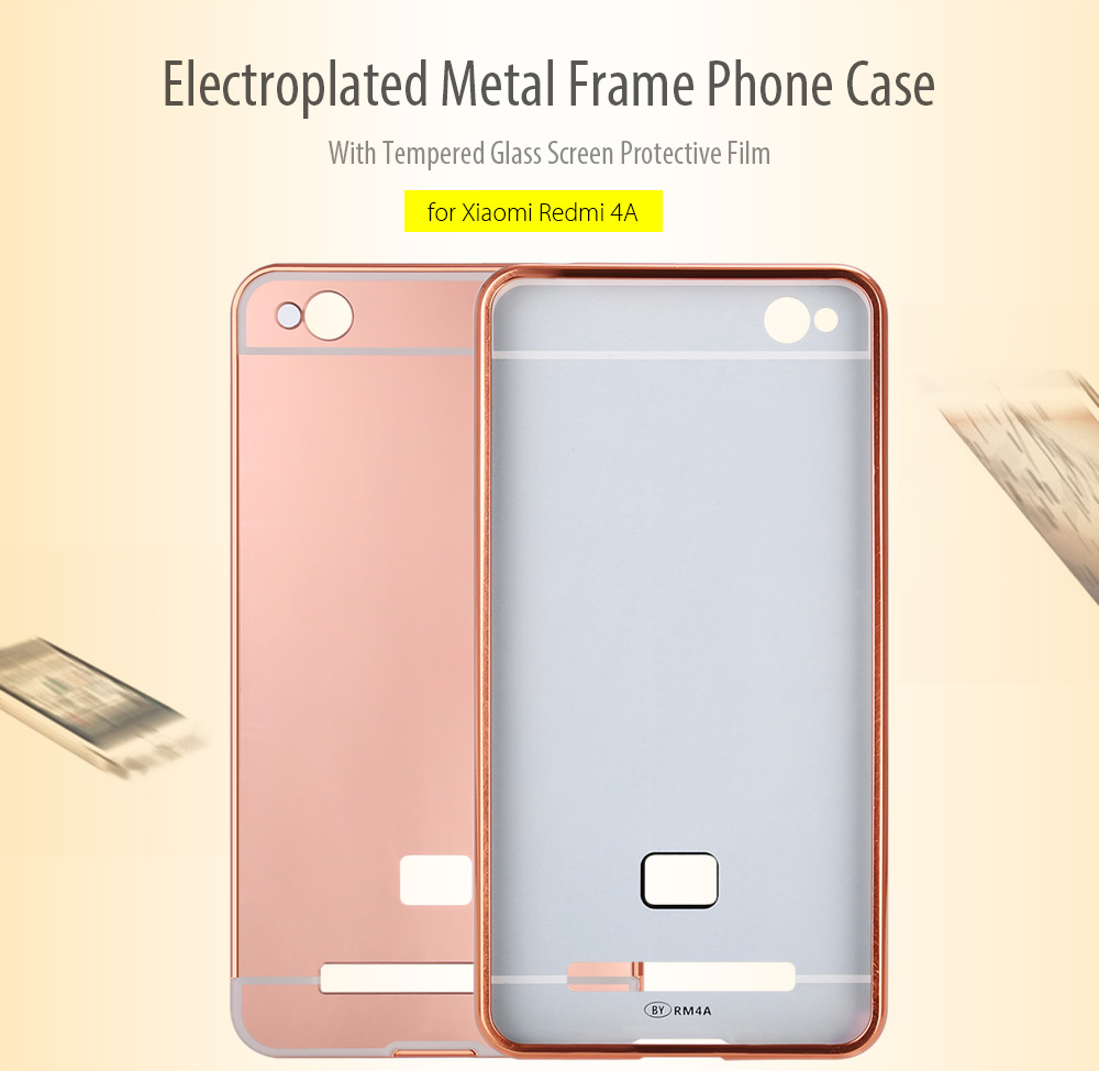 LeeHUR Electroplated Metal Frame Phone Case Tempered Glass Screen Film for Xiaomi Redmi 4A