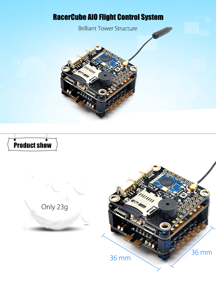 RacerCube AIO FC System with Integrated SP Racing F3 EVO / 4-in-1 LittleBee 20A ESC / FrSky 8CH PPM SBUS Receiver