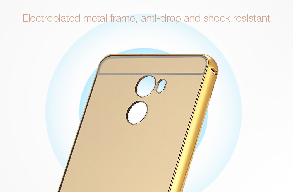 LeeHUR Electroplated Metal Frame Phone Case Tempered Glass Screen Film for Xiaomi Redmi 4 Standard Edition