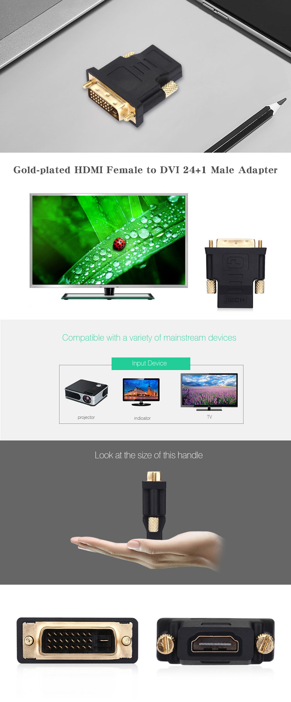 Gold-plated HDMI Female to DVI 24+1 Male Adapter Connector