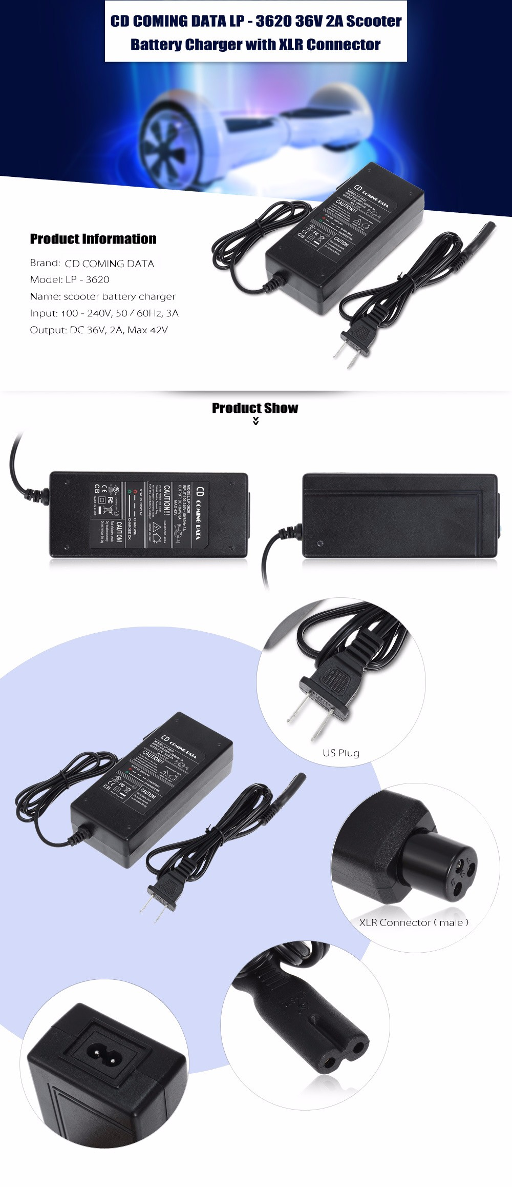 CD COMING DATA LP - 3620 36V 2A Scooter Battery Charger Adapter with XLR Connector