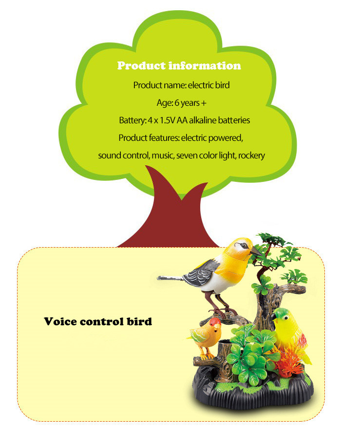 Colorful Voice Control Bird Fantastic Singing Song Simulation Toy