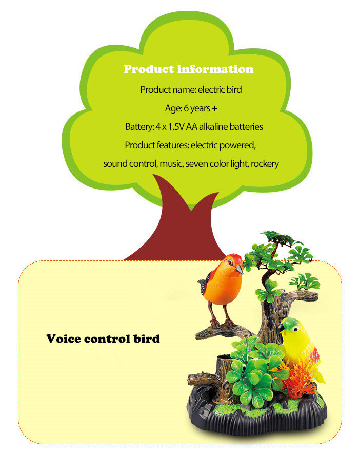 Singing Song Simulation Bird Voice Control Toy