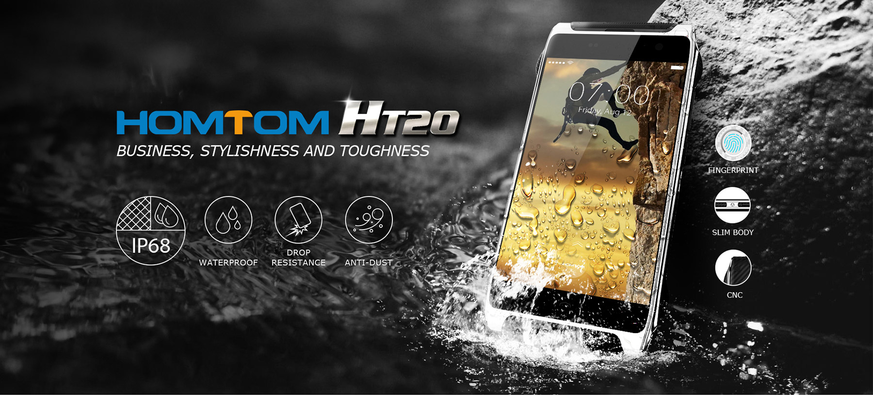 Homtom HT20 Android 6.0 4.7 inch 4G Smartphone MTK6737 Quad Core 1.3GHz 2GB RAM 16GB ROM Fingerprint Scanner Waterproof IP68 Bluetooth 4.0 HotKnot