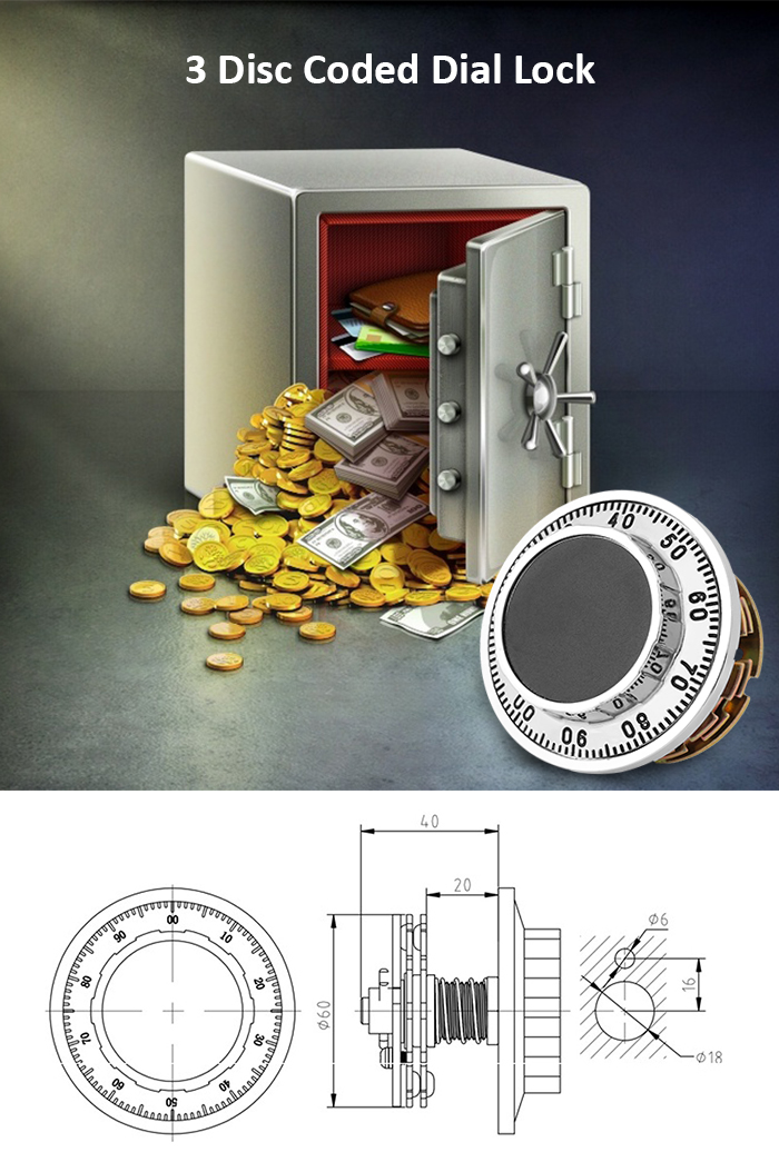 977 - 1 Coded Dial Lock 3 Disc for Safe Box