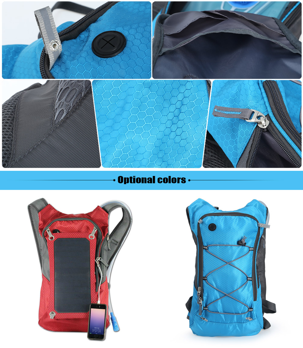 Compact Nylon 10L Solar Backpack Bag with 2L Water Bag for Cycling Hiking Climbing