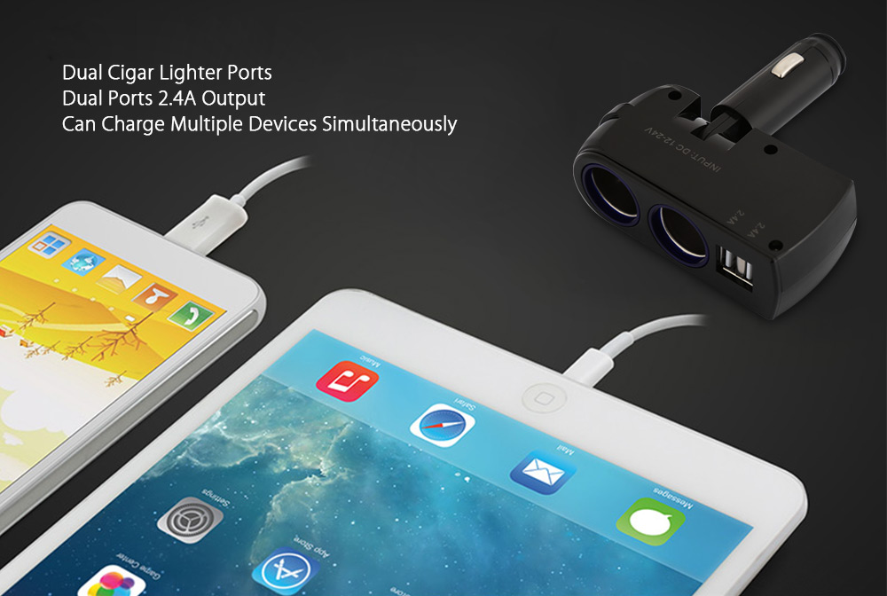 90 Degree Rotation Dual USB Double Cigar Lighter Ports Car Charger