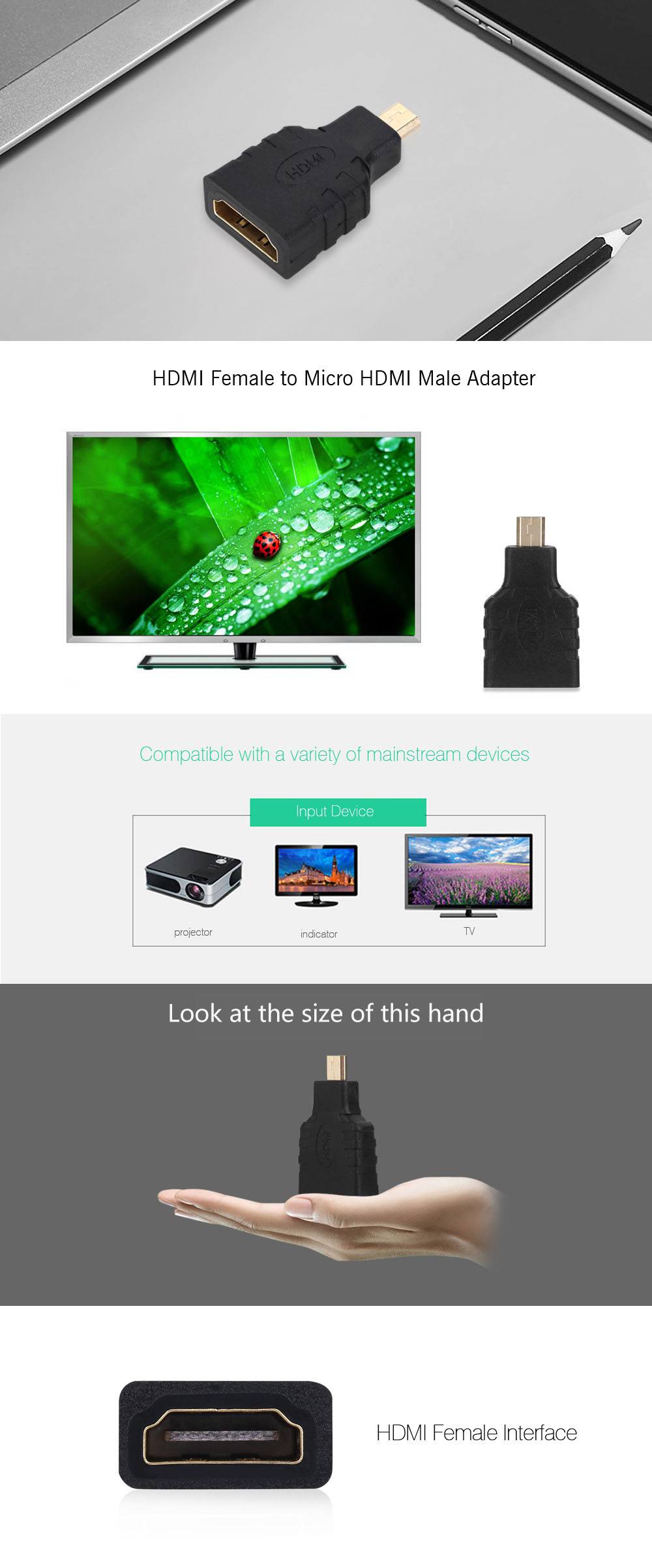 Gold-plated HDMI Female to Micro HDMI Male Adapter