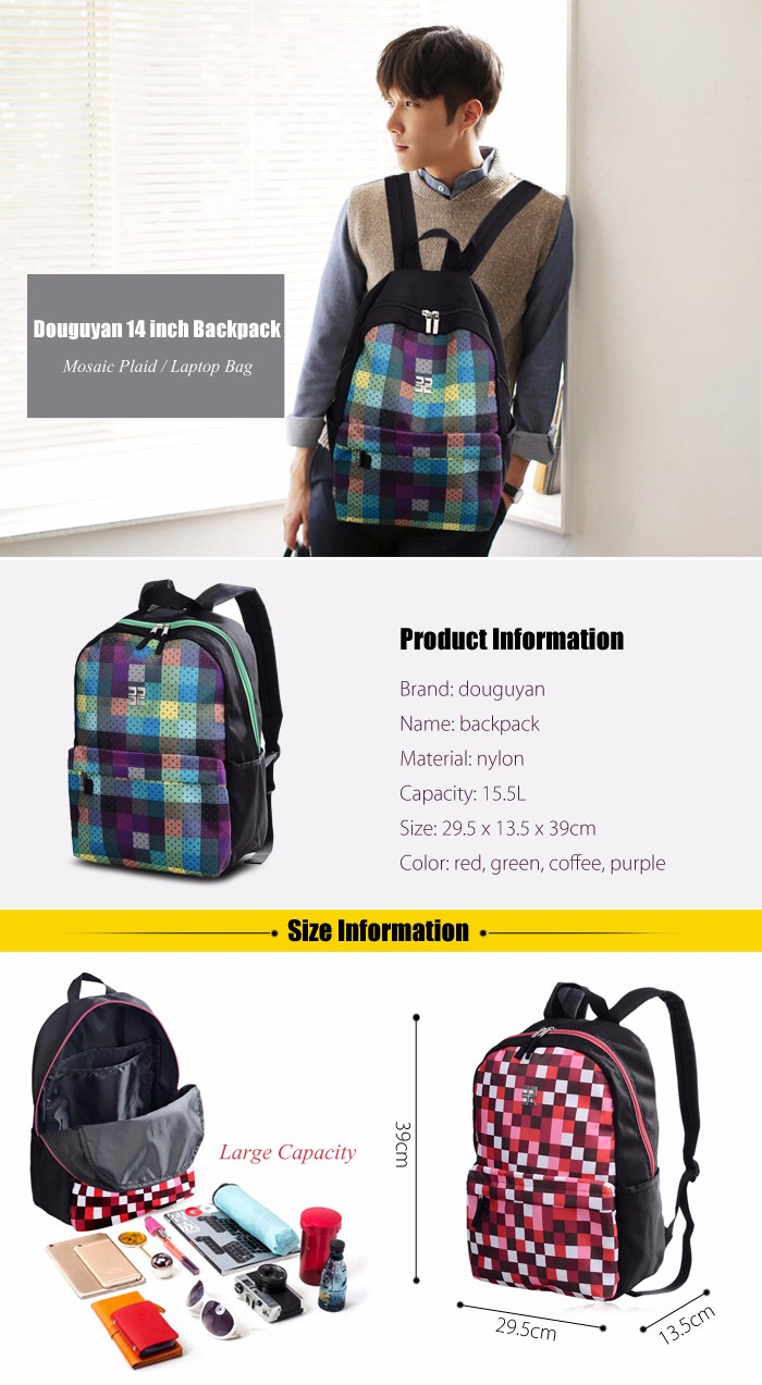 Douguyan 14 inch Mosaic Plaid Laptop Backpack Leisure Students Bag