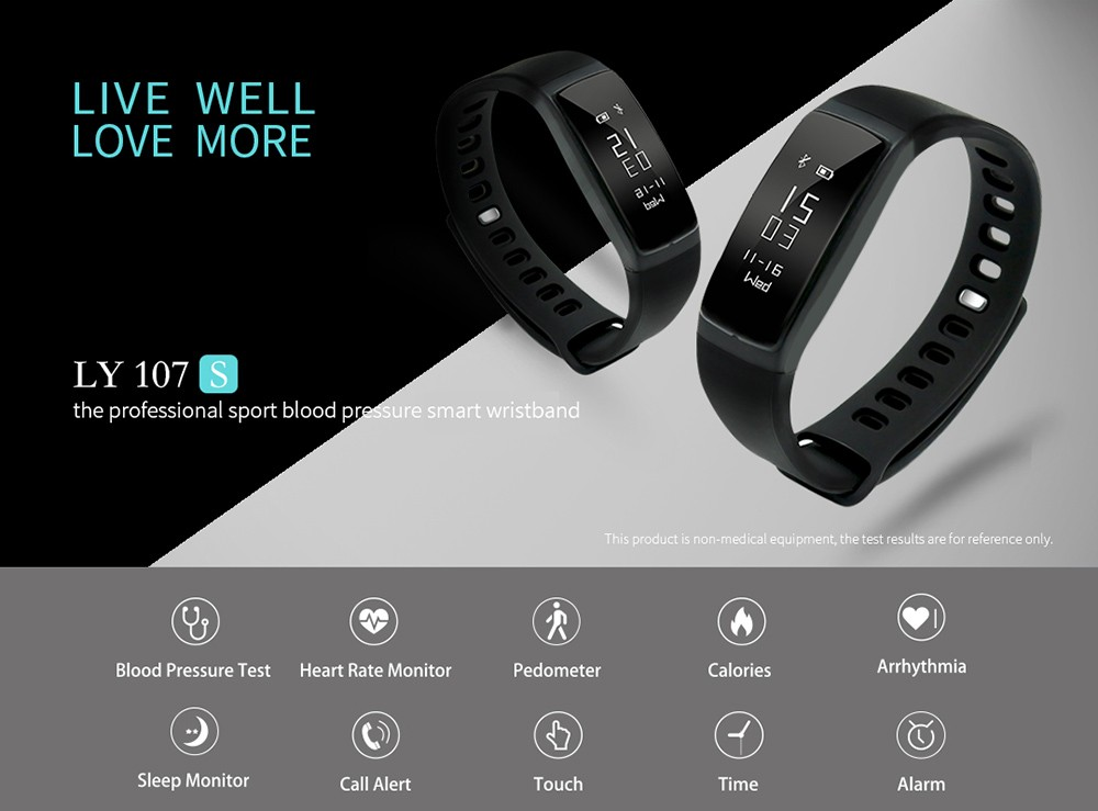 LY 107S Heart Rate Monitor Smart Bracelet Blood Pressure Measure nRF51822 Chip Wristband