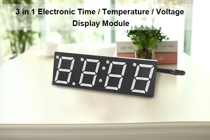 3 in 1 LED Electronic Time / Temperature / Voltage Display Module