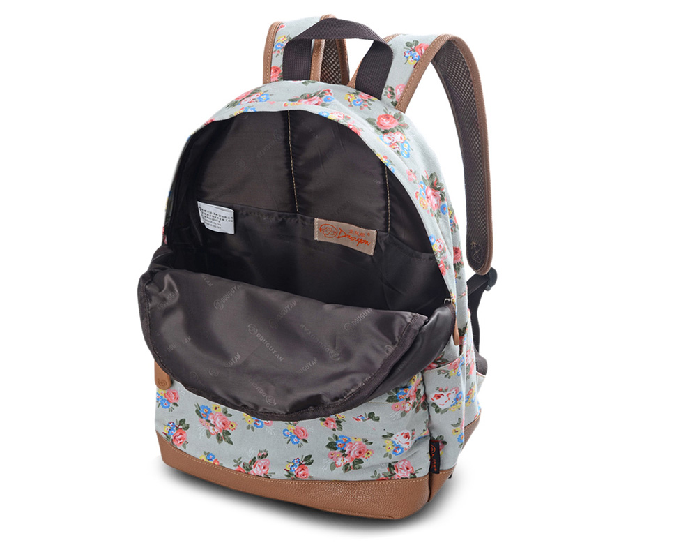 Douguyan Canvas Floral Print Backpack Preppy Leisure Travel Bag
