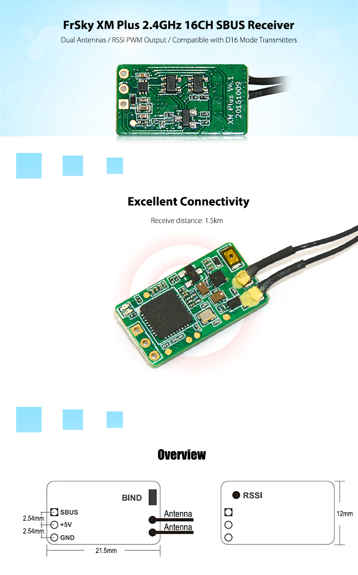 FrSky XM Plus 2.4GHz 16CH SBUS Receiver Dual Antennas / RSSI PWM Output / Compatible with D16 Mode