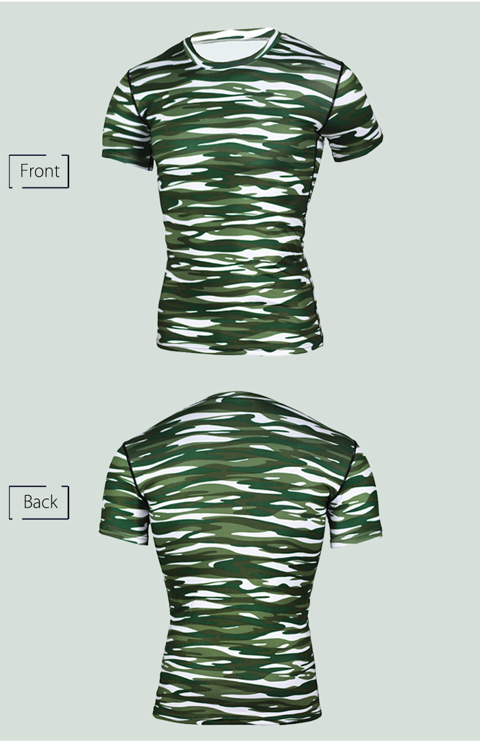 Camouflage Compress Short Sleeves T-shirt for Fitness Sports