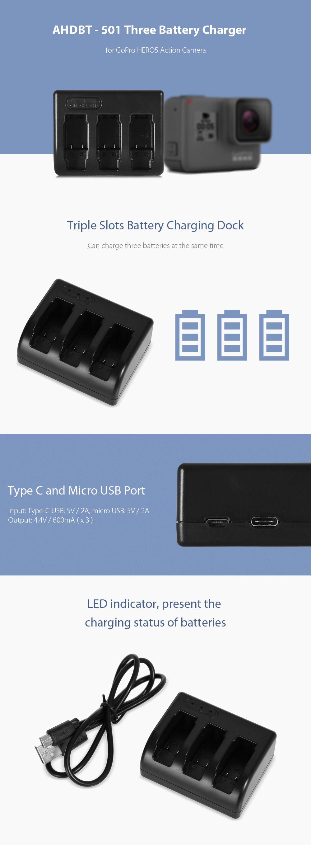 AHDBT - 501 Triple Battery Charging Dock for GoPro HERO5 Action Camera