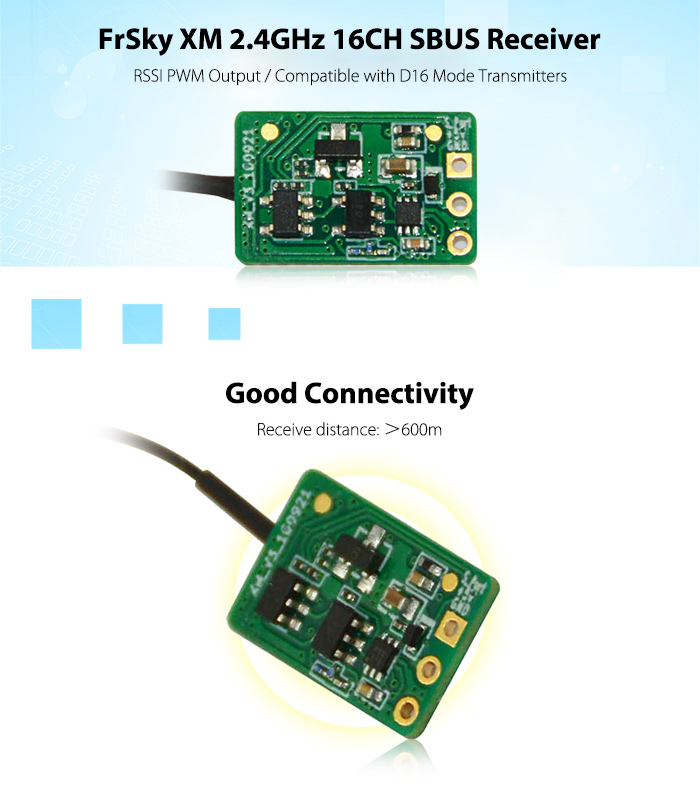 FrSky XM 2.4GHz 16CH SBUS Receiver RSSI PWM Output / Compatible with D16 Mode