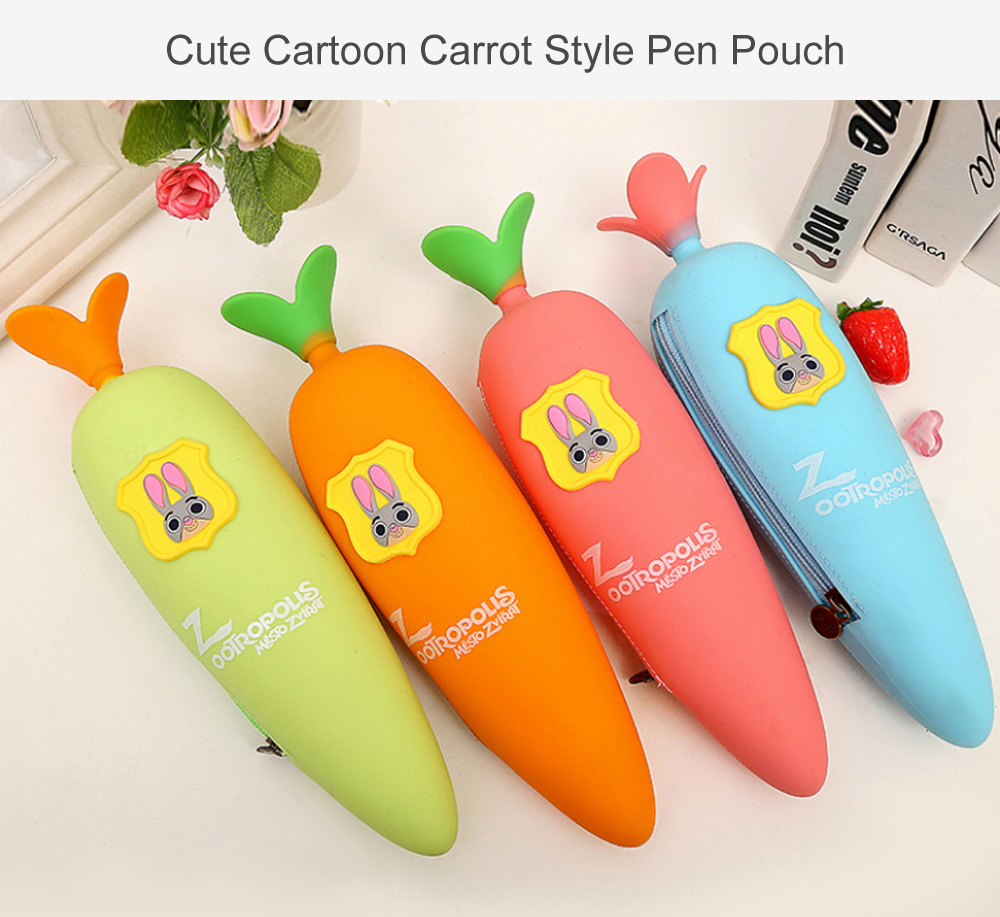 Creative Cartoon Carrot Pattern Pen Bag Pencil Pouch
