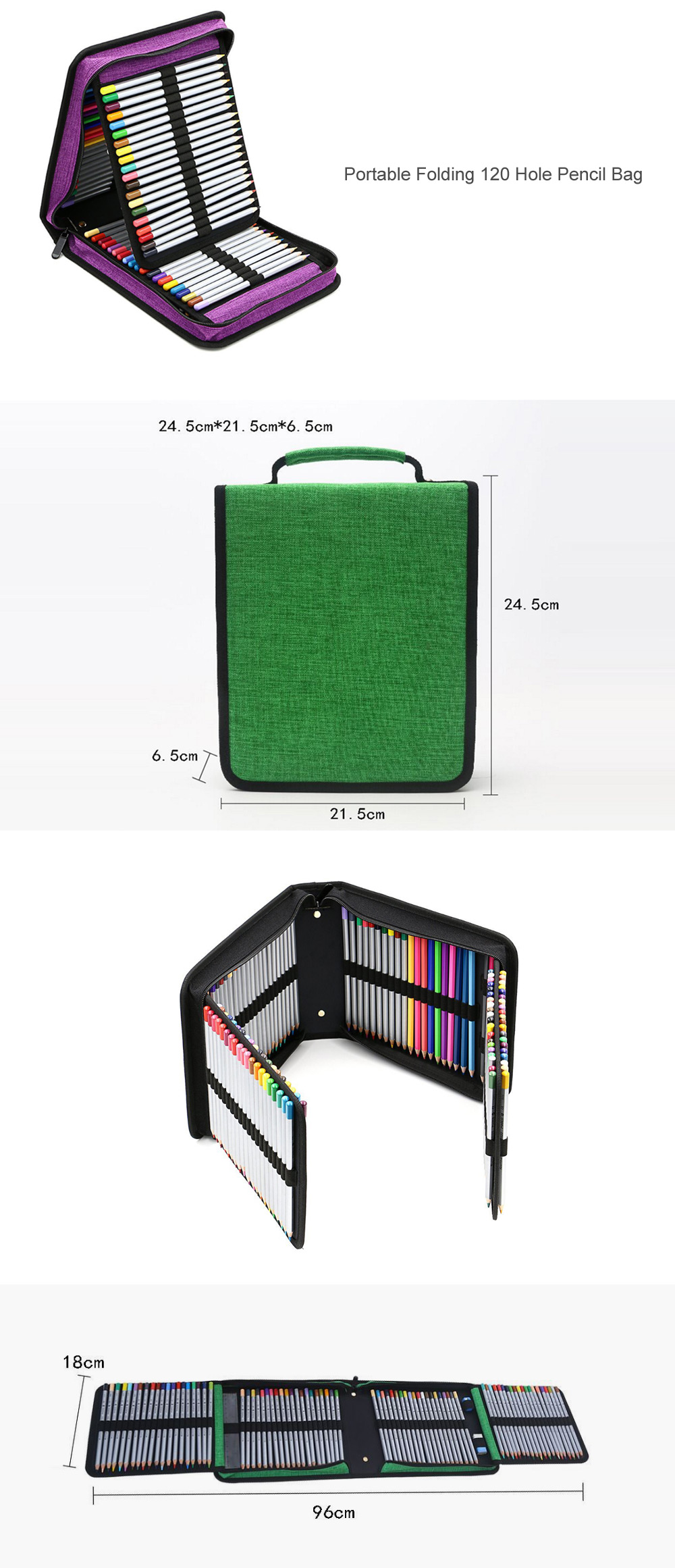 Portable 120 Hole Folding Pen Bag Pencil Case