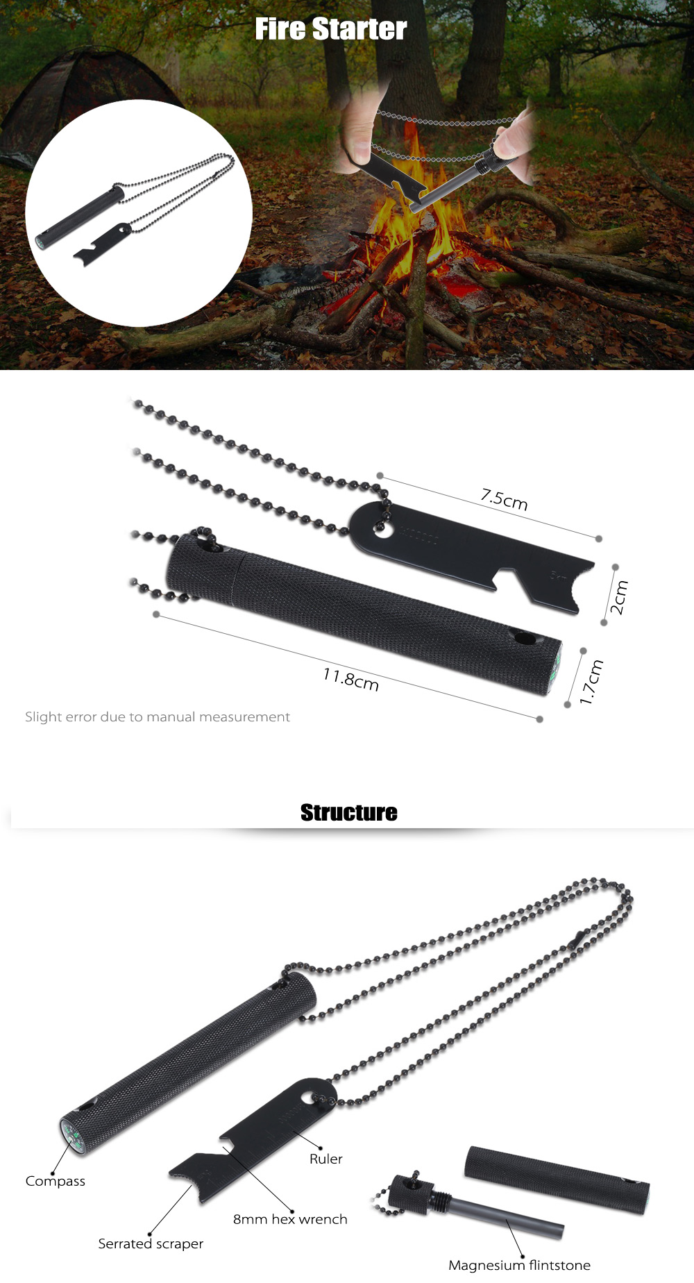 Magnesium Rod Fire Starter with Compass / Hex Wrench / Ruler for Outdoor Survival