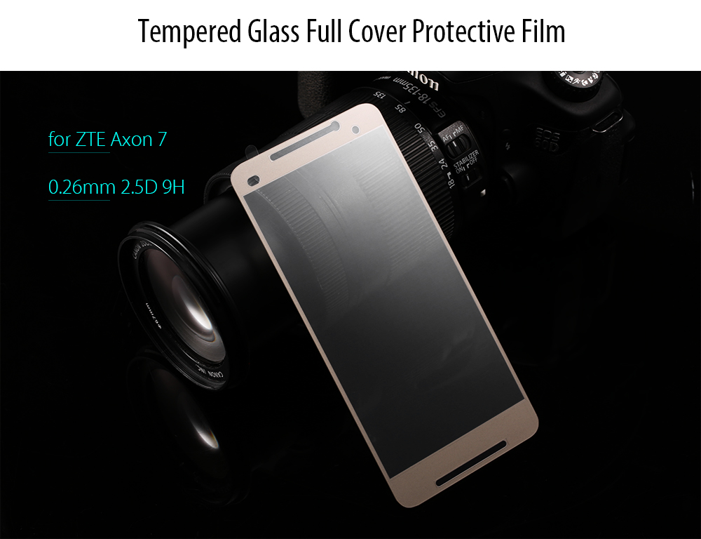Luanke Tempered Glass Full Cover Screen Film for ZTE Axon 7 Ultra-thin 0.26mm 2.5D 9H Explosion-proof Protector