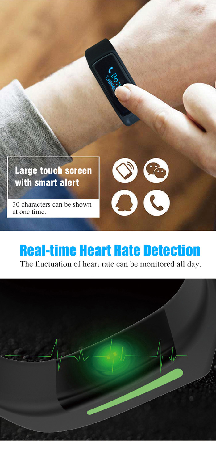 V6 Heart Rate Smart Wristband with Sleep Monitor Pedometer Sedentary Remind Bracelet