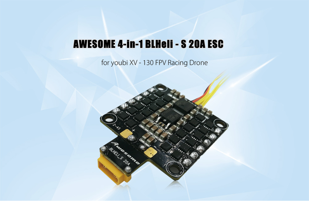 AWESOME 4-in-1 BLHeli - S 20A ESC with Oneshot125 / Oneshot42 / Multishot for youbi XV - 130 FPV Racing Drone