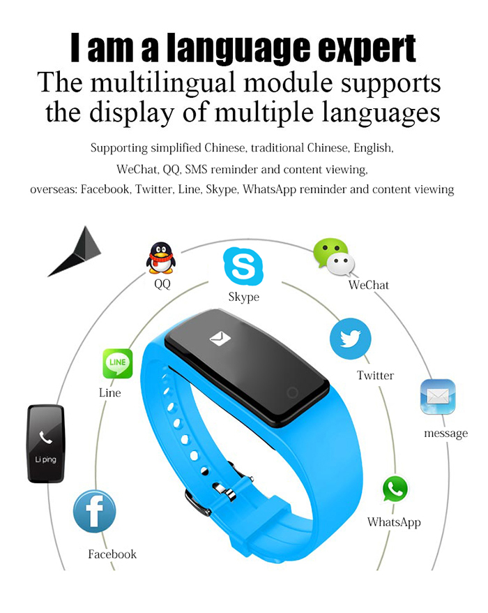 S1 Bluetooth 4.0 Heart Rate Smart Wristband with Remote Camera Music Calls Reminder