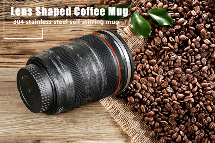 Lens Shaped Self Stirring Coffee Mug Electric Stainless Steel Mixing Cup