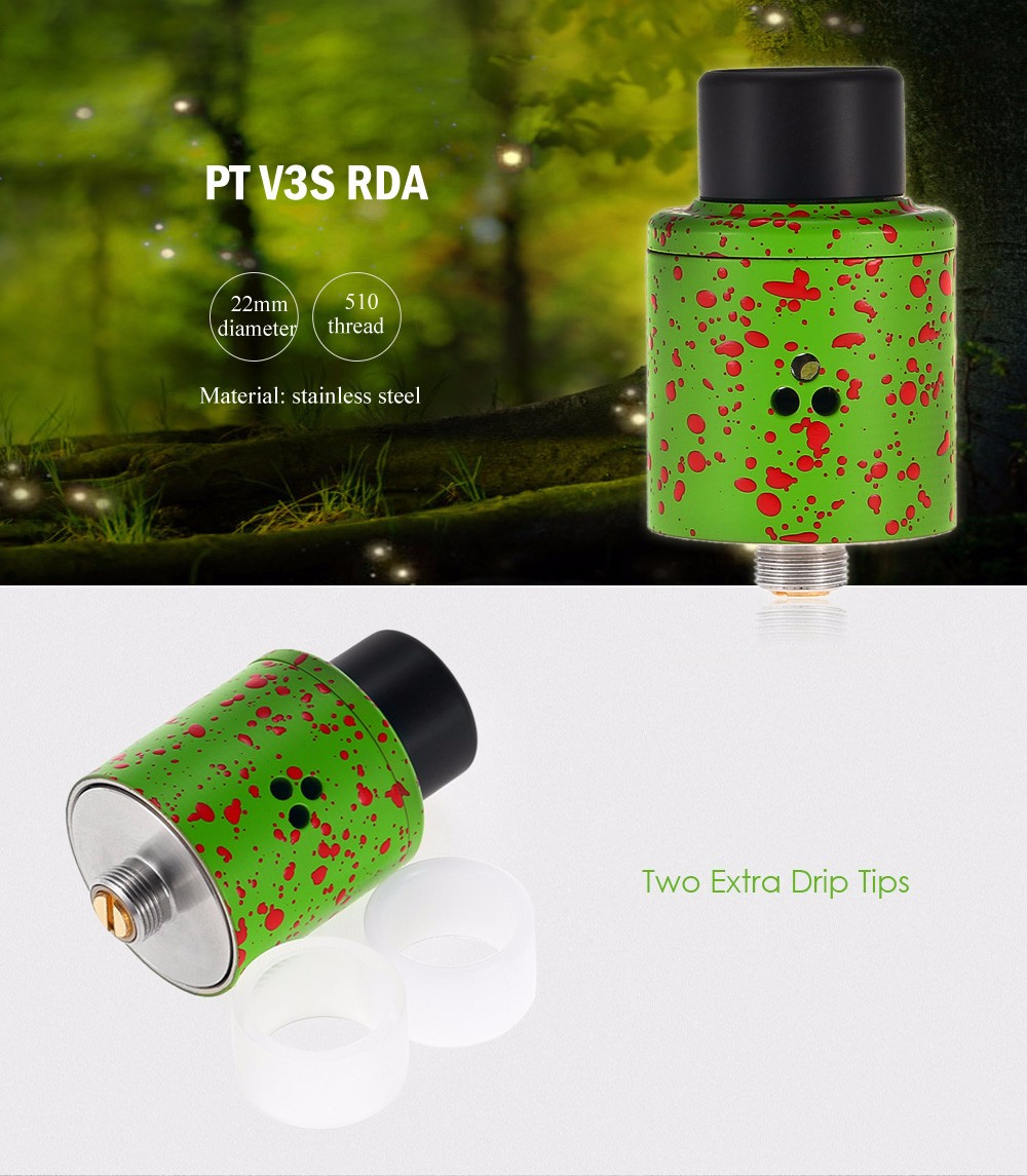 PT V3S RDA with Dual Posts Design / Side Airflow for E Cigarette