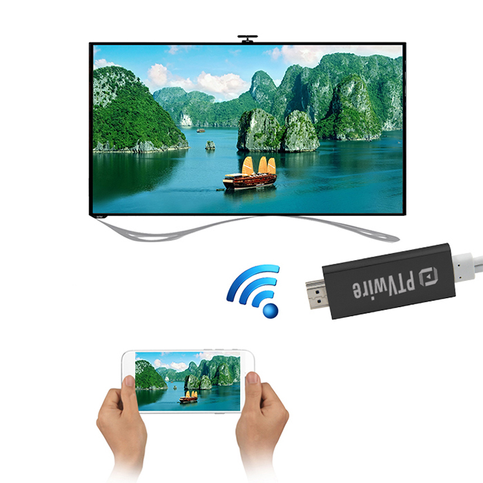 PTVwire CA01F 8 Pin iOS Screen Mirroring 1080P HDMI Adapter for iPhone 5 / 6 /  iPad 4