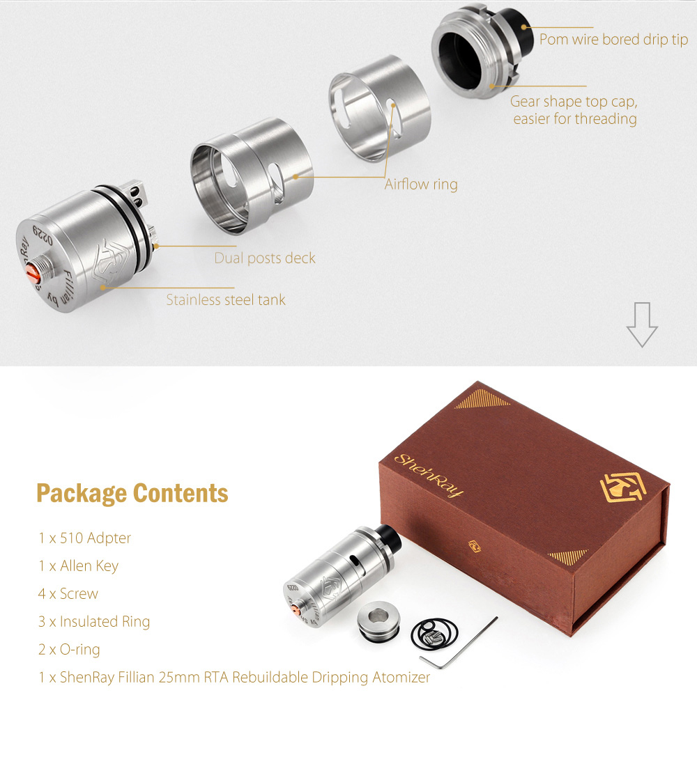 Original ShenRay Fillian 25mm RTA Rebuildable Dripping Atomizer with Dual Posts Design / Side Adjustable Airflow for E Cigarette