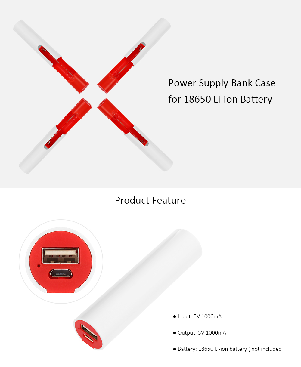 18650 Li-ion Battery USB Charger Power Bank Case