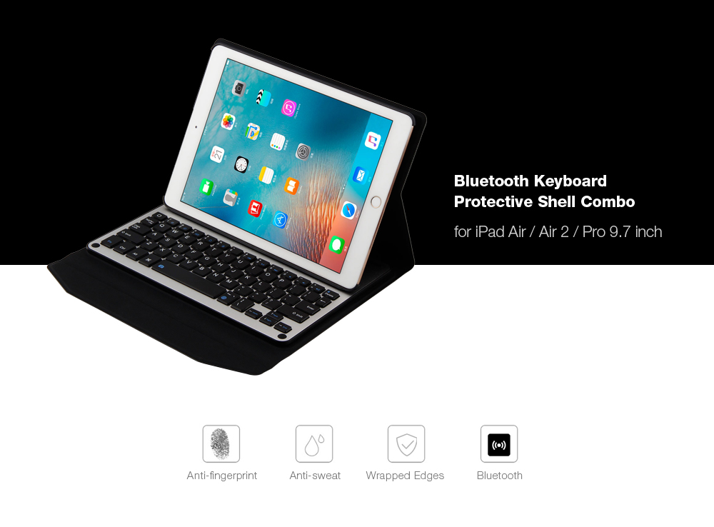 Universal Bluetooth Wireless Keyboard Tablet Cover Case for iPad Air / Air 2 / Pro 9.7 inch