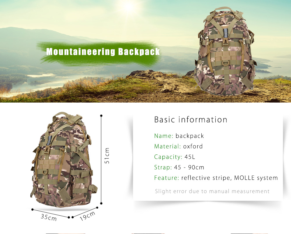 BL075 Wear-resistant Oxford Cloth 45L Mountaineering Backpack Bag