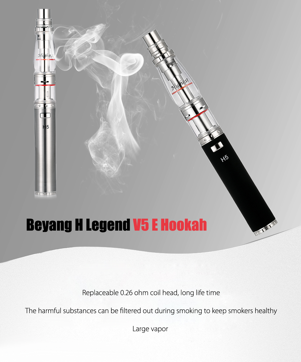 Original Beyang H Legend V5 E Hookah E-liquid Vaporizer with 0.26 ohm Coil Head / Supporting 1pcs 18650 Battery for E Cigarette
