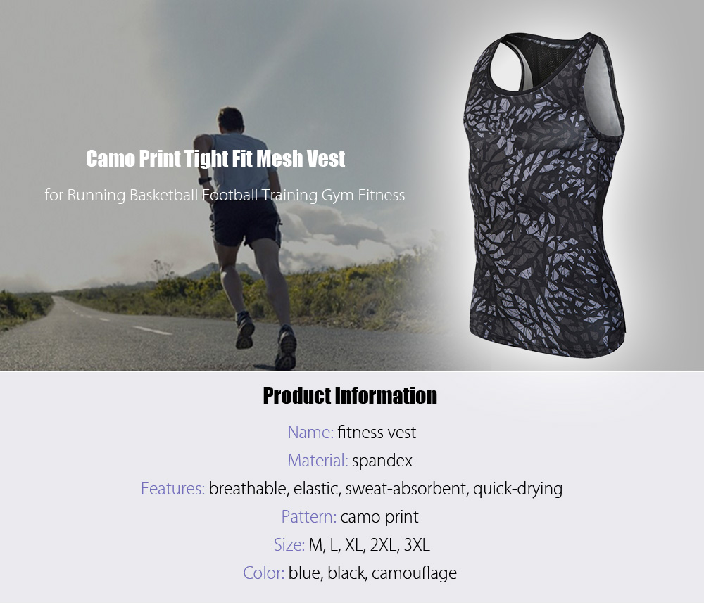 Camo Print Tight Fit Breathable Mesh Vest Running Basketball Football Training Tops