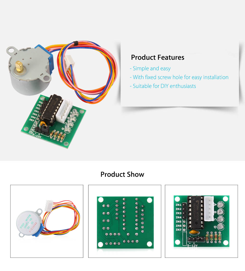 5 Line Stepper Motor with ULN2003 Driver Board Set for Arduino