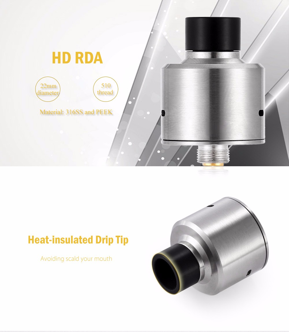 HD RDA with Side Adjustable Airflow / Heat-insulated Drip Tip for E Cigarette