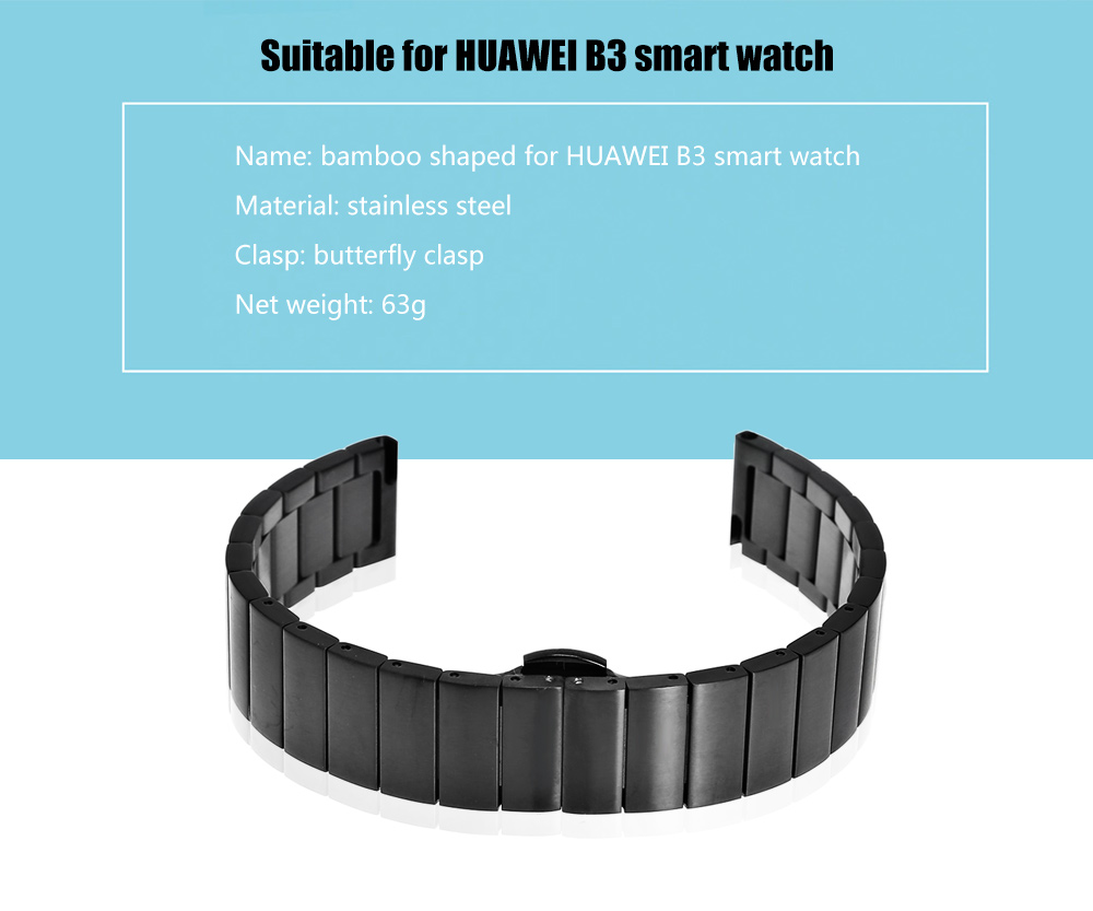 16mm Bamboo Shaped Stainless Steel Wristband for HUAWEI B3 Smart Watch