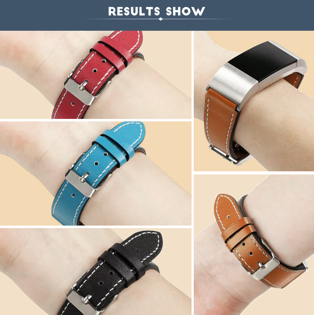 20mm Genuine Leather Wristband for Fitbit Charge 2 Smart Watch