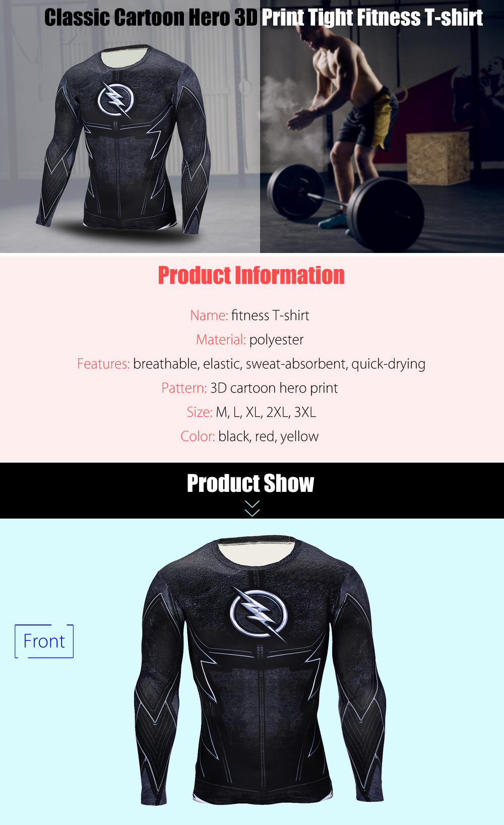 Classic Cartoon Hero 3D Print Close Fit Long Sleeves T-shirt Tight Fitness Tops
