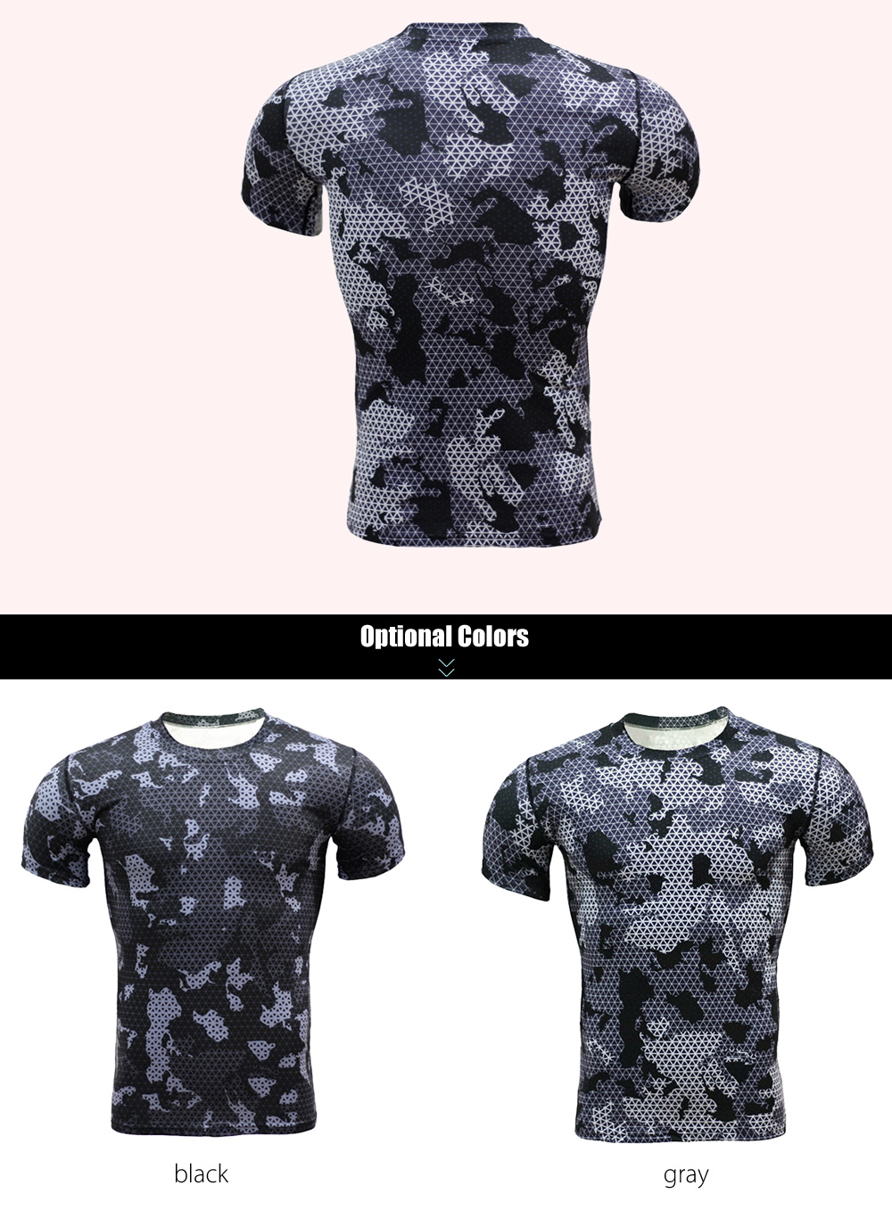 Color Block Grid Print Tight Fit Short Sleeves T-shirt Fitness Training Tops