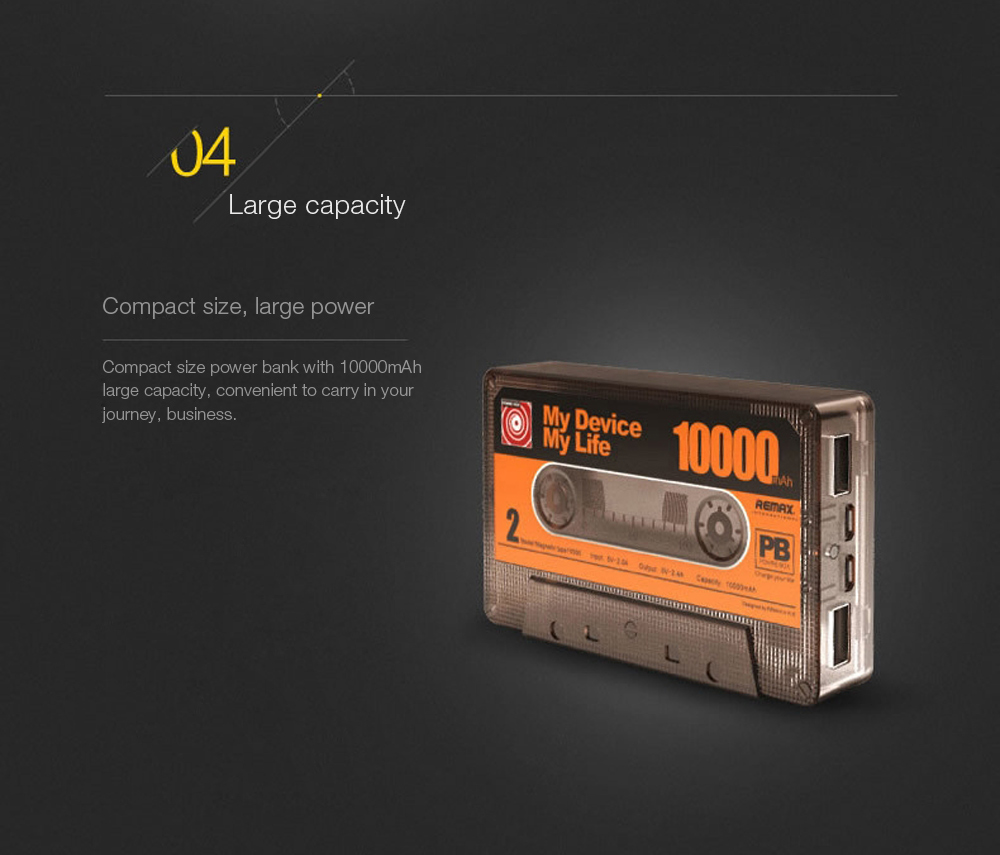Remax Magnetic Tape Power Bank 10000mAh Energy Pack Double Input Interfaces