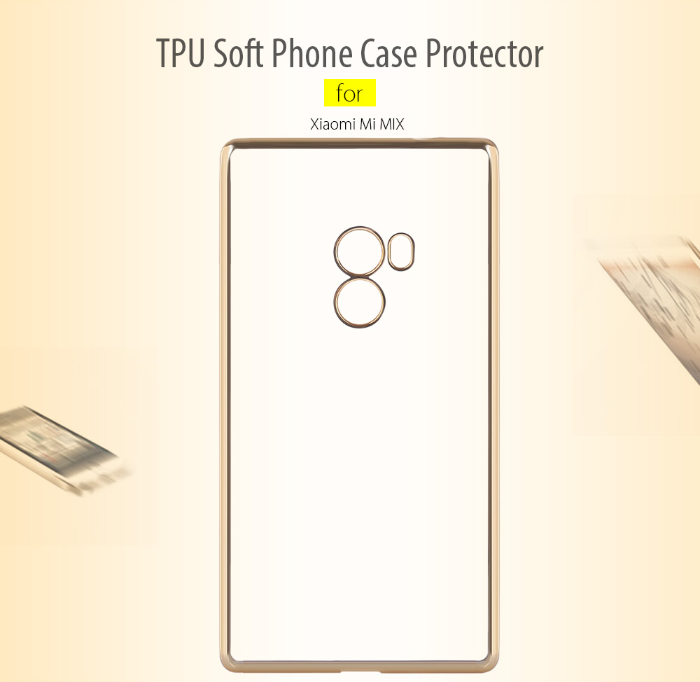 Luanke TPU Soft Protective Phone Case for Xiaomi Mi MIX Electroplated Edge Transparent Shell