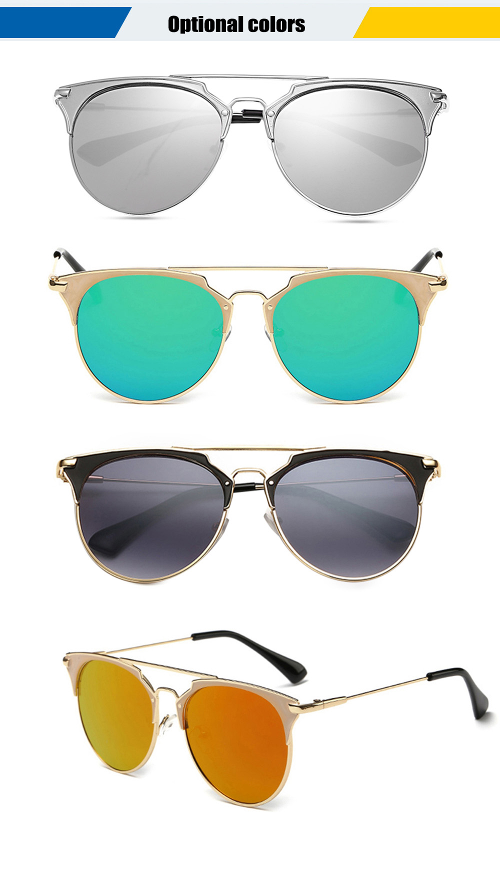 2110 UV-resistant Sunglasses Eyewear with PC Lens / Metal Frame
